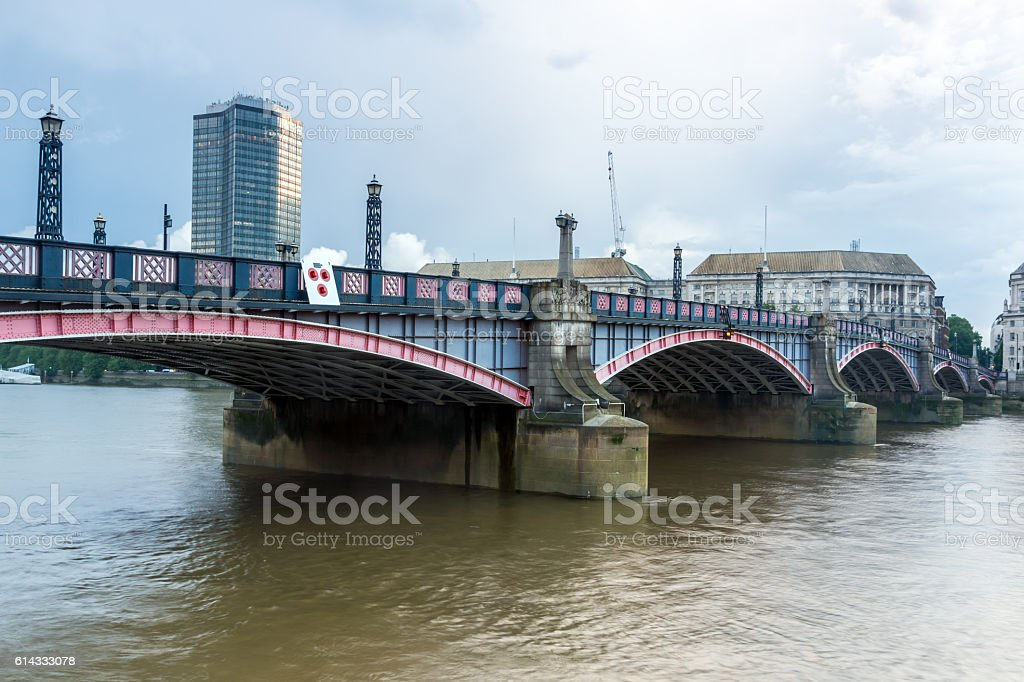 Sunset of Lambeth bridge, London, England stock photo