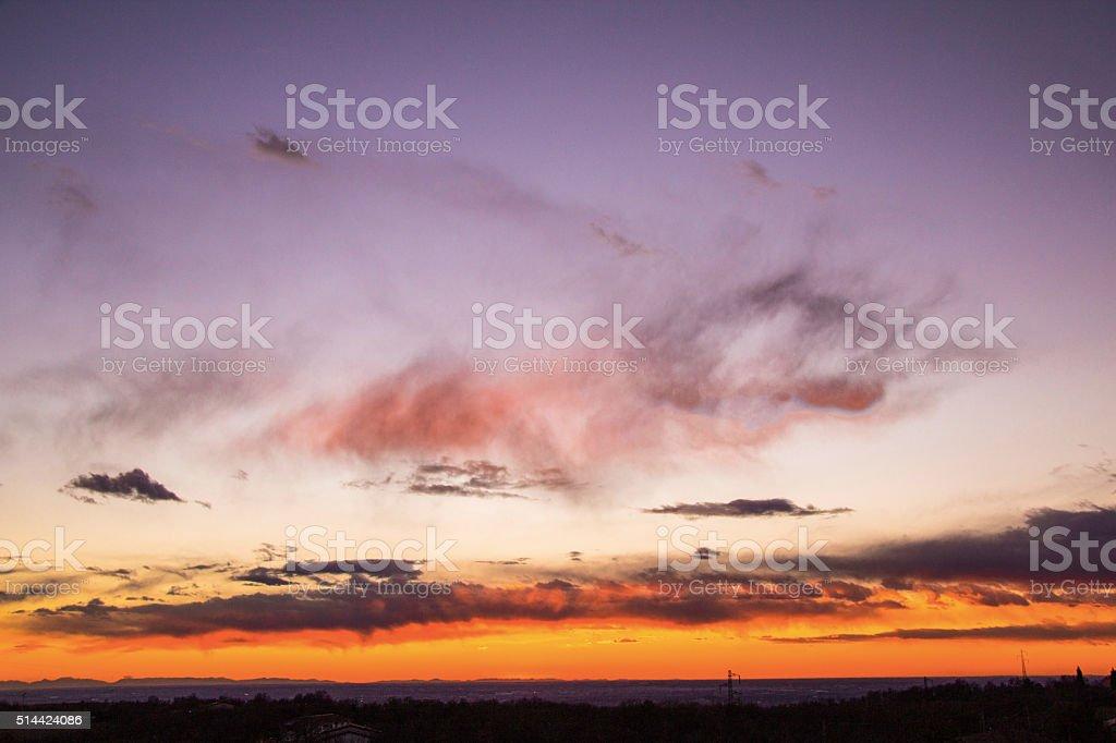 Sunset of Lonigo stock photo