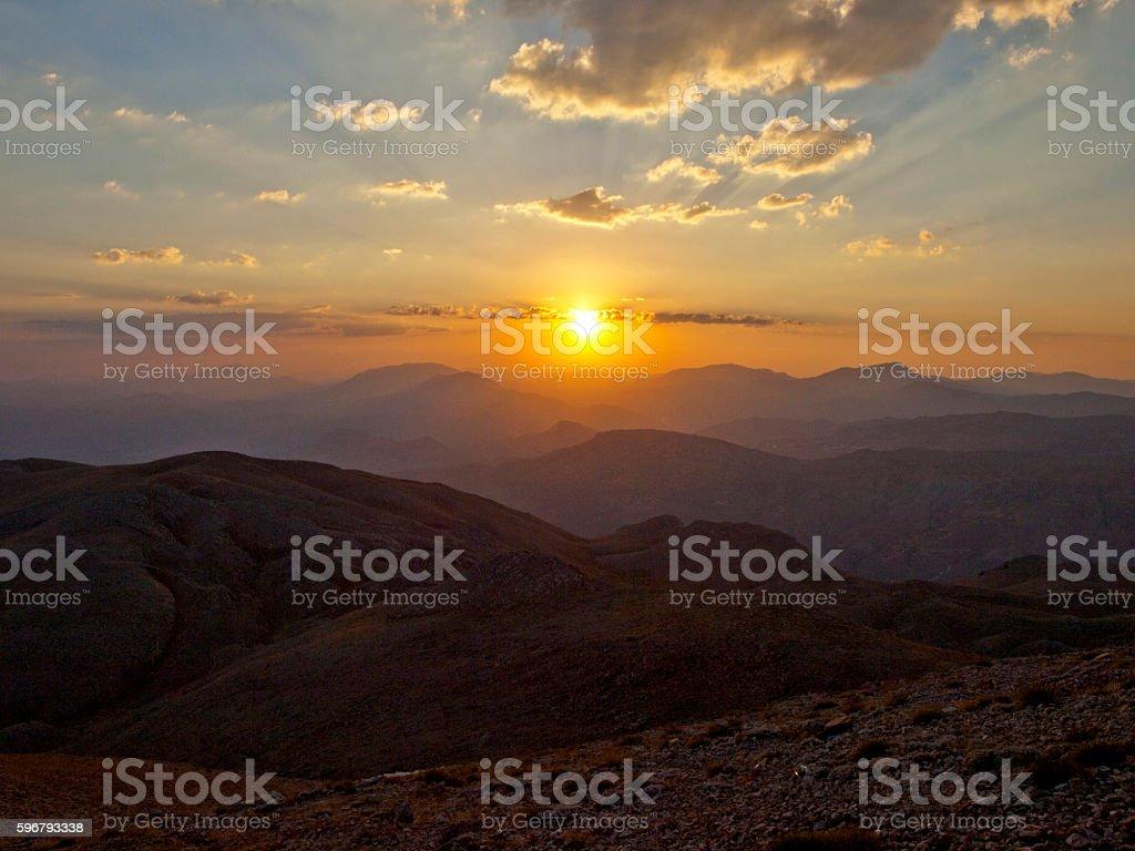 sunset of Mount Nemrut stock photo