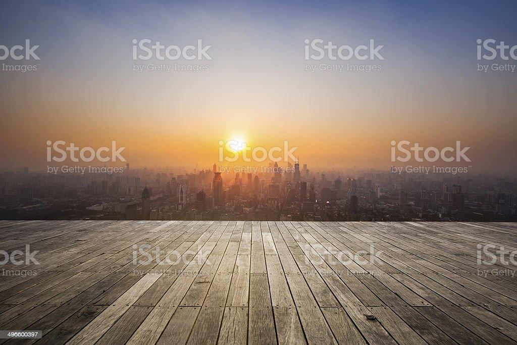 sunset of shanghai china stock photo