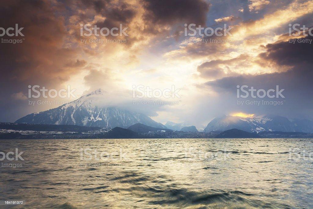 Sunset of Swiss Pyramid stock photo