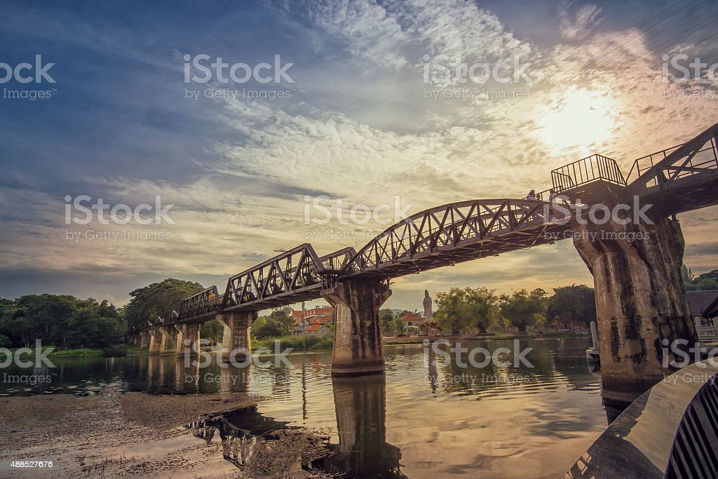 Sunset of The Bridge of the River Kwai stock photo