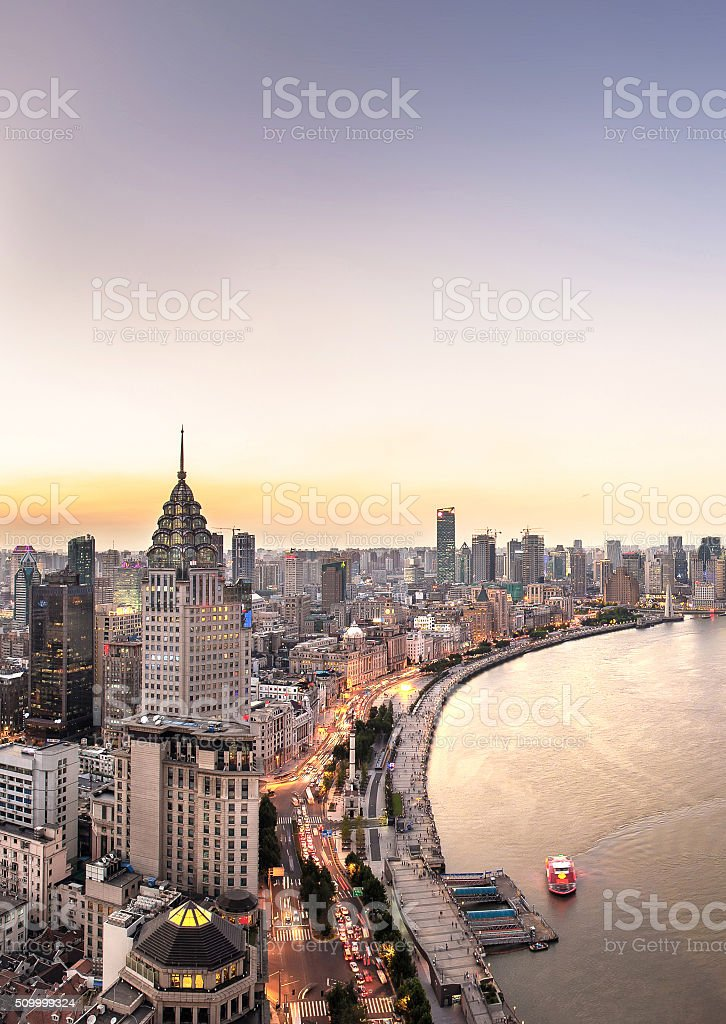 Sunset of The Bund in Shanghai stock photo