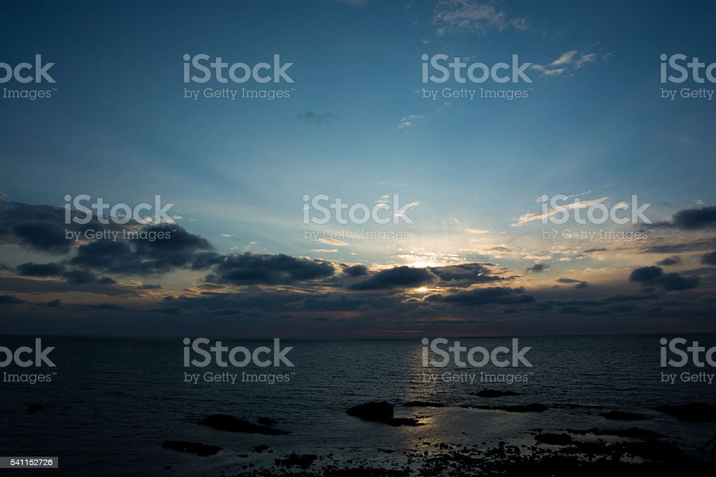 Sunset of the Sea of Japan stock photo