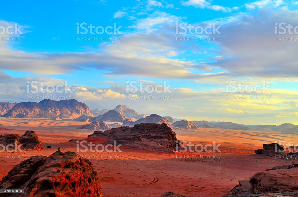 Sunset of Wadi-Rum stock photo
