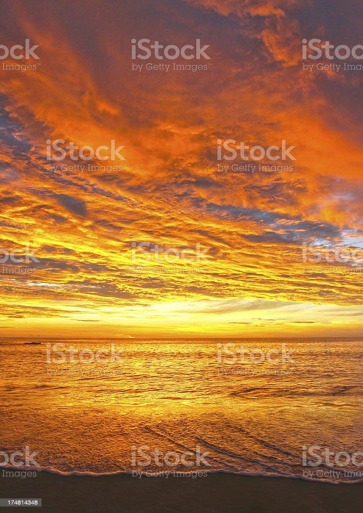 Sunset Off the Coast of Costa Rica stock photo