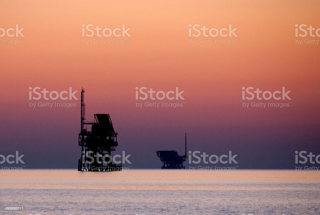 sunset offshore platform. royalty-free stock photo