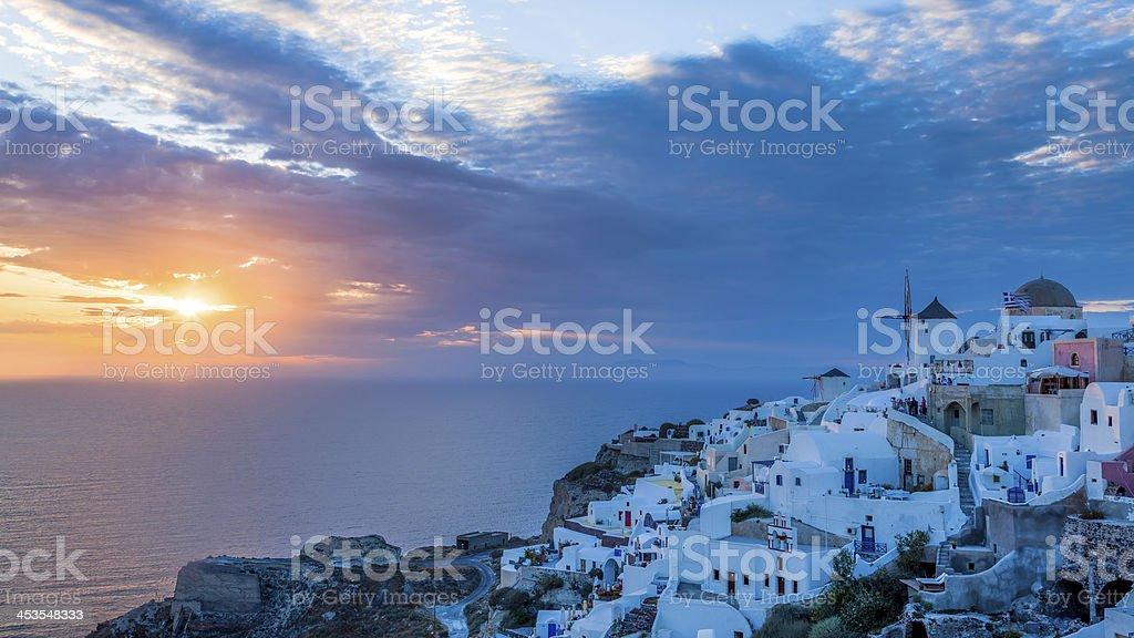 Coucher de soleil Oia Santorin, Grèce photo libre de droits