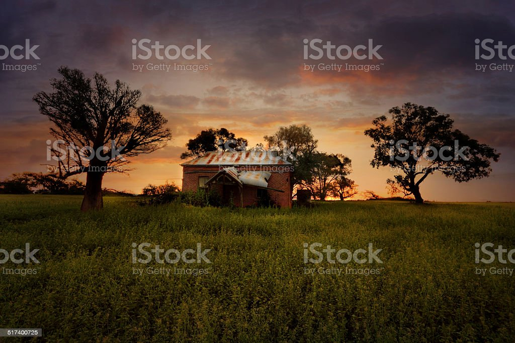 Sunset Old Abandoned Farm House stock photo