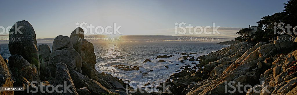 Sunset on 17 Mile Drive in Carmel California stock photo