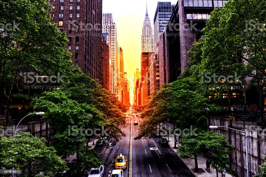 Sunset on 42nd street, NYC stock photo