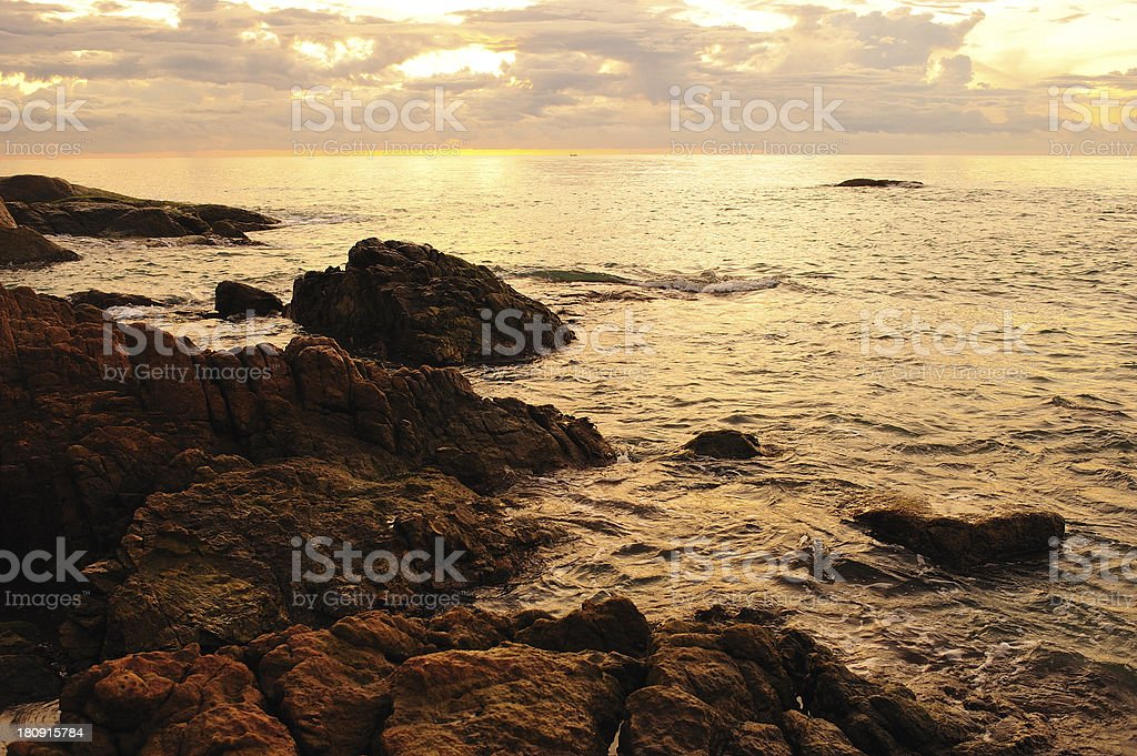 sunset on a background royalty-free stock photo