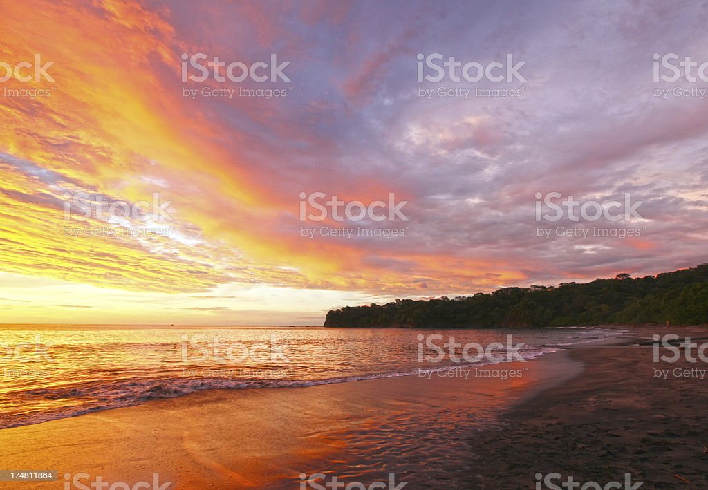 Sunset on a Beach in Costa Rica royalty-free stock photo