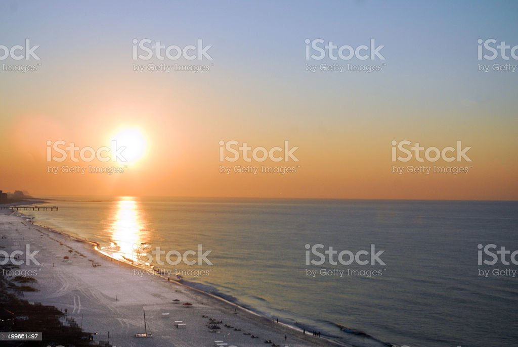 Sunset on a Beach in Gulf Shores stock photo