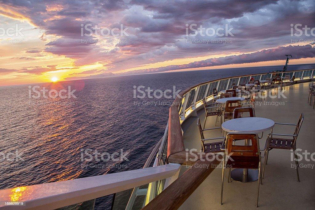 Sunset on a Cruise Ship stock photo