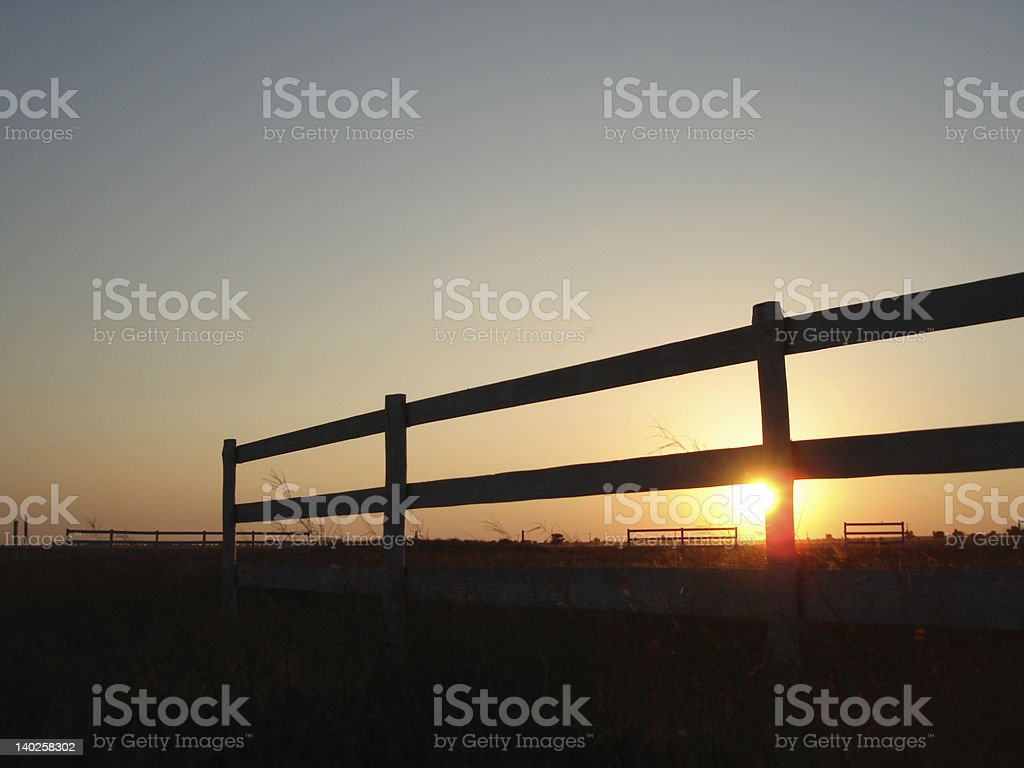sunset on a horse stable royalty-free stock photo