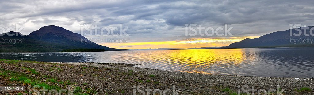 Sunset on a lake in Siberia. stock photo
