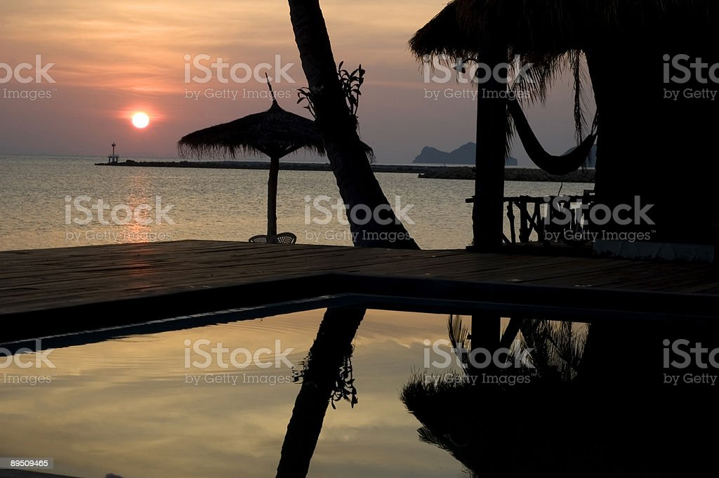 Sunset on a perfect Thai Beach royalty-free stock photo