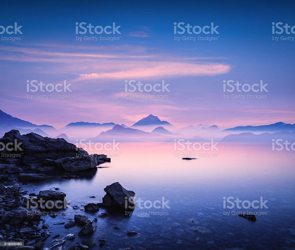 Sunset On a Rocky Beach stock photo