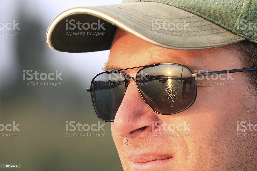 Sunset on a sunglasses royalty-free stock photo