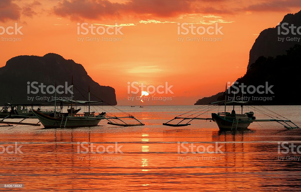 Sunset on a tropical island. El Nido. stock photo