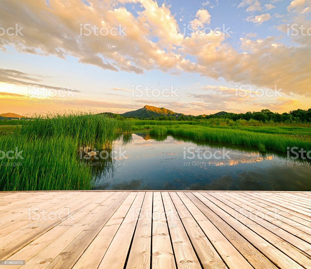 Sunset on a wetlands ponds with floor. stock photo