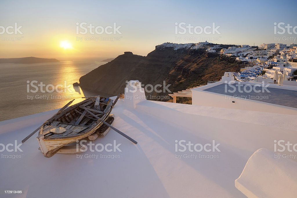 Sunset On Aegean Sea, Santorini, Greece royalty-free stock photo