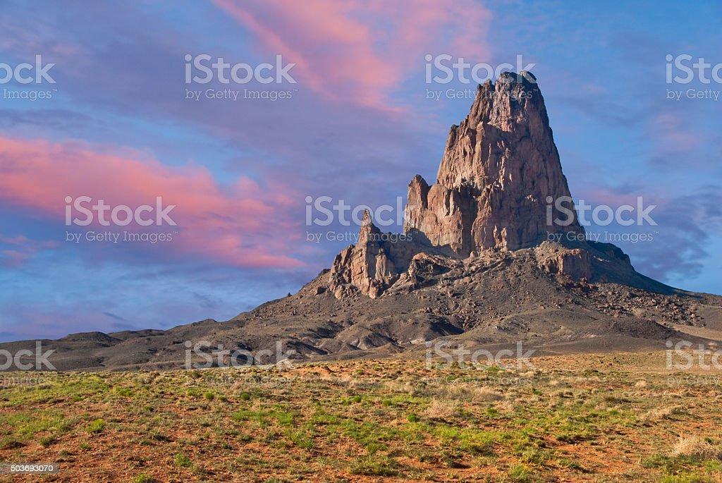 Sunset on Agathla Peak stock photo