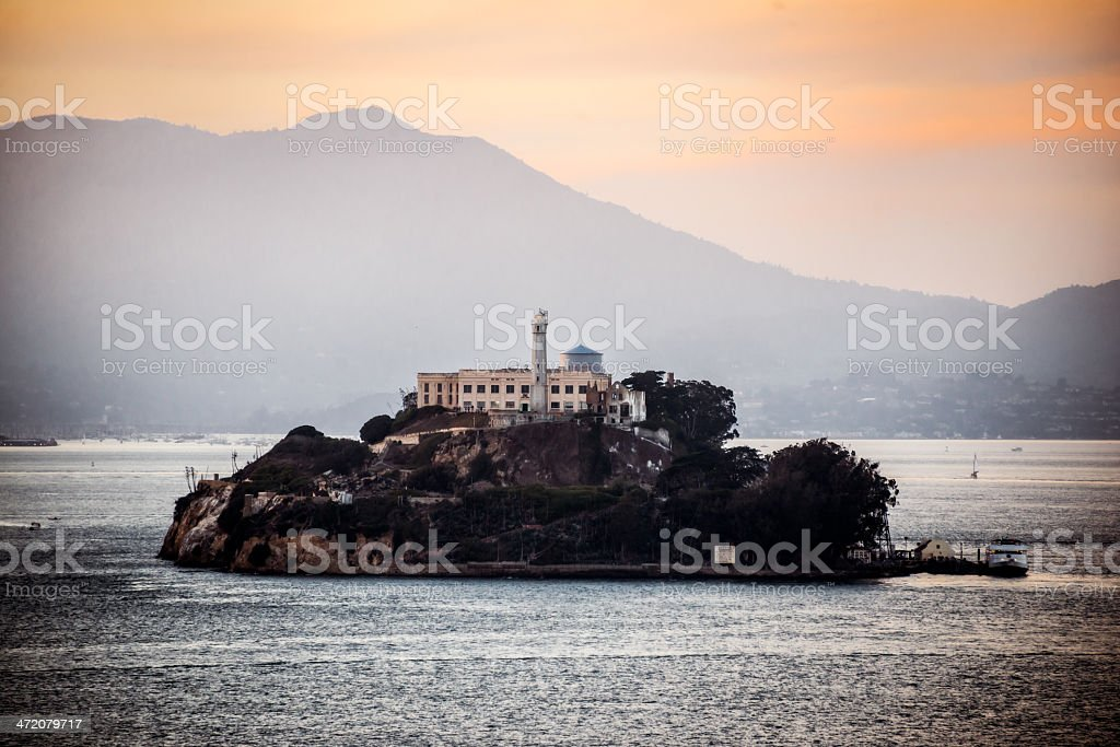 Sunset on Alcatraz Island royalty-free stock photo