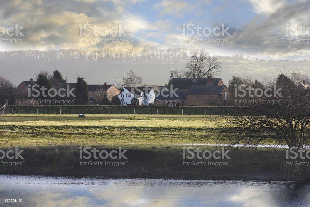 Sunset on an English village stock photo