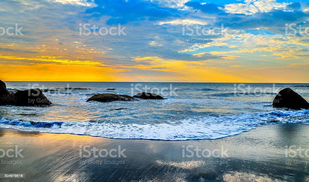 Sunset on Arabian Sea stock photo