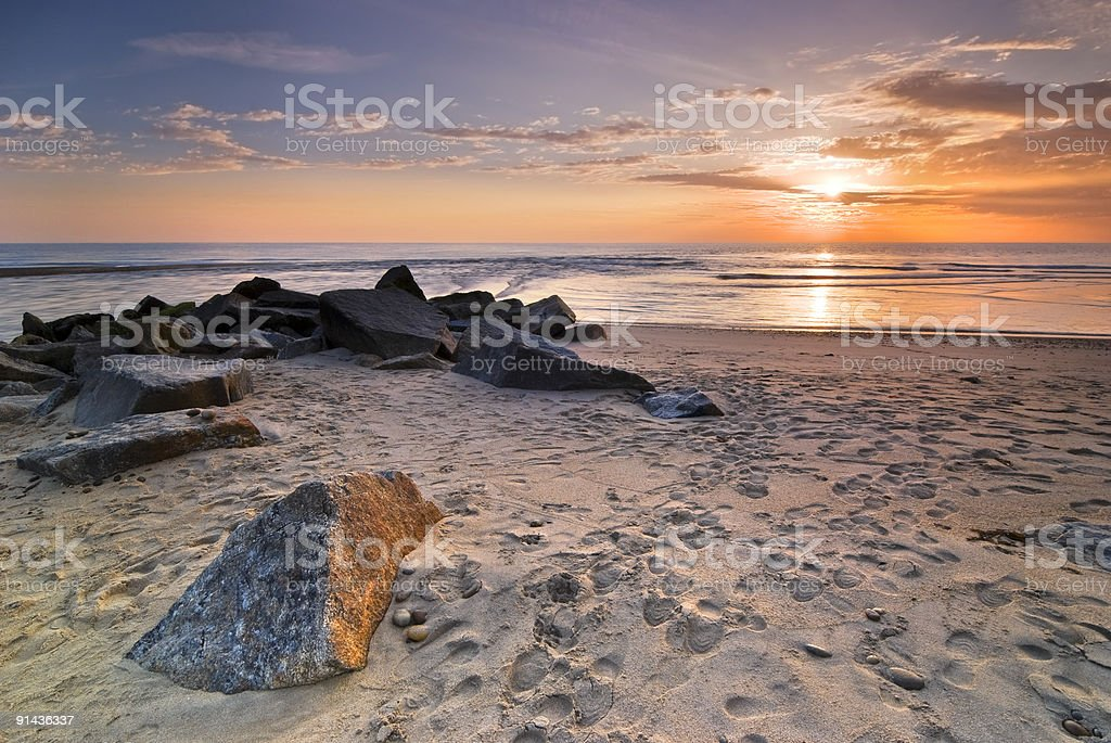 Sunset on Atlantic beach royalty-free stock photo