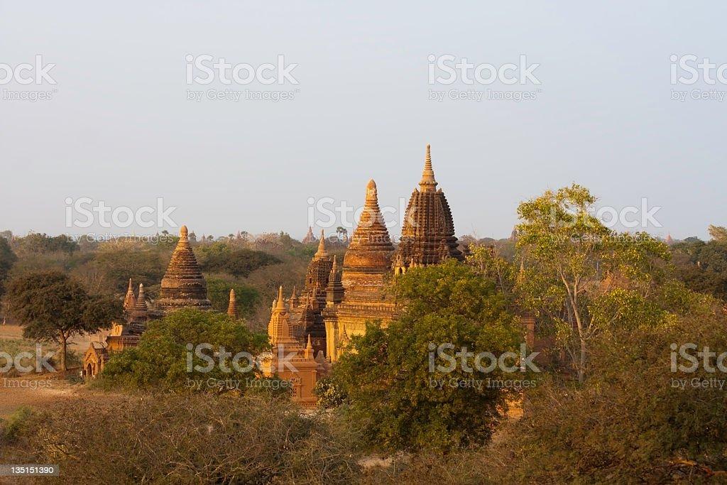 Sunset on Bagan temples, Myanmar royalty-free stock photo