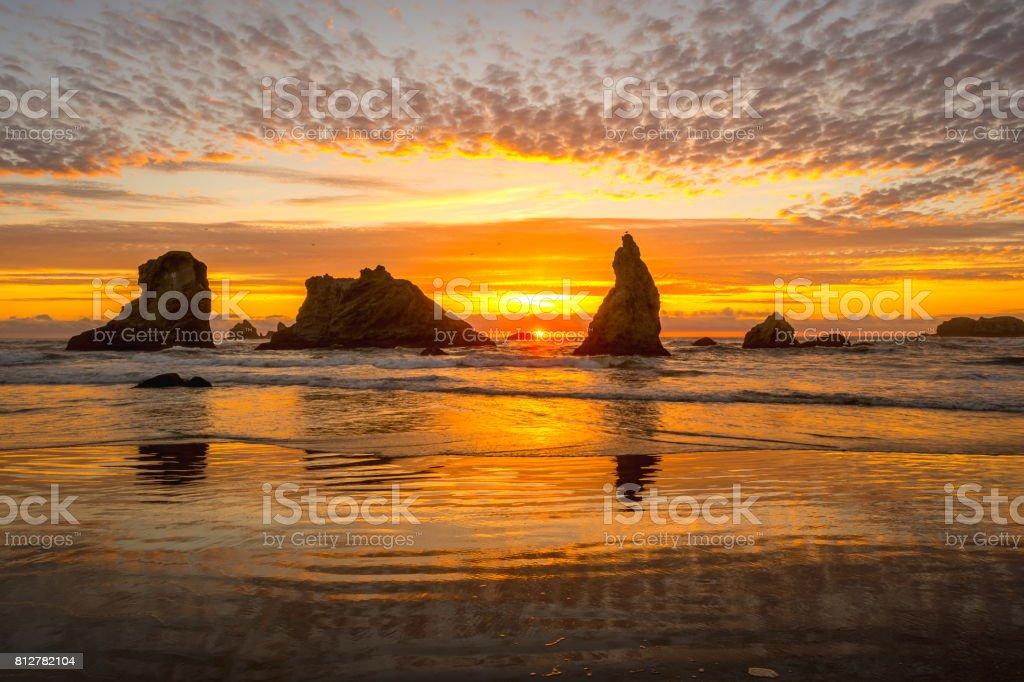 Sunset on Bandon Beach, Oregon stock photo