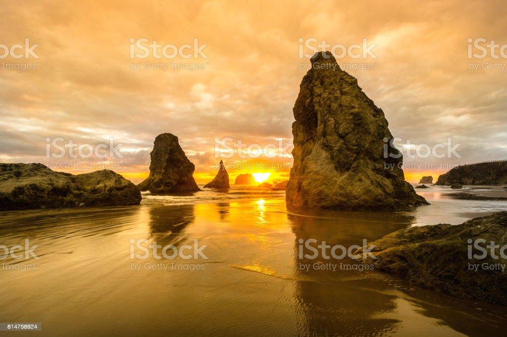Sunset on Bandon Beach, Oregon stock photo