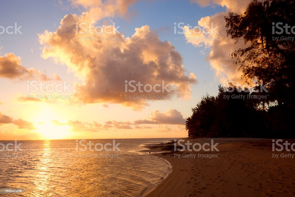 Sunset on Beach of a Tropical Island royalty-free stock photo