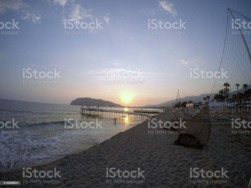 Atardecer en la playa. foto de stock libre de derechos