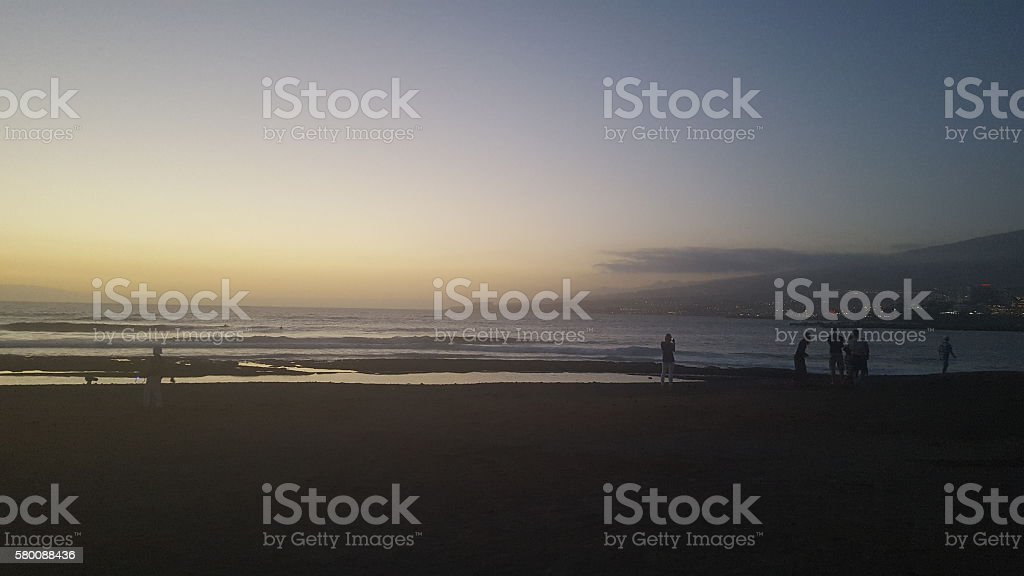 Sunset on beach stock photo