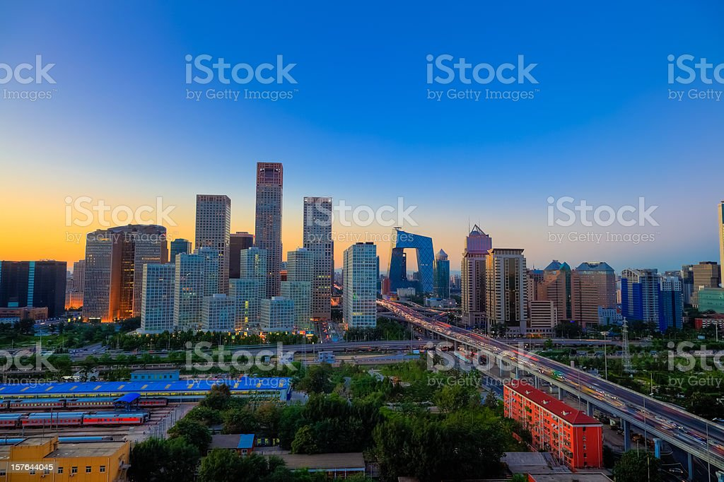 Sunset on Beijing CBD stock photo