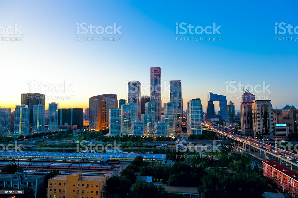 Sunset on Beijing Central Business district buildings skyline, China cityscape stock photo
