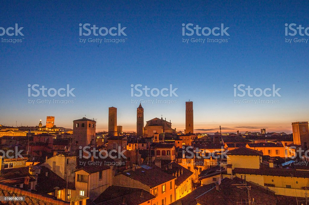 Sunset on Bologna stock photo