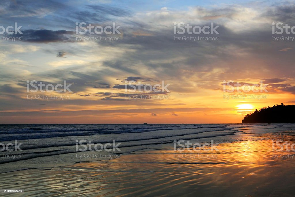 Sunset on Borneo stock photo
