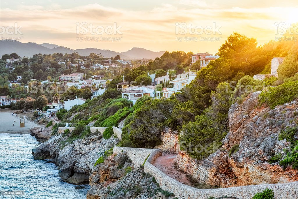 Sunset on Cala Romantica - Majorca stock photo