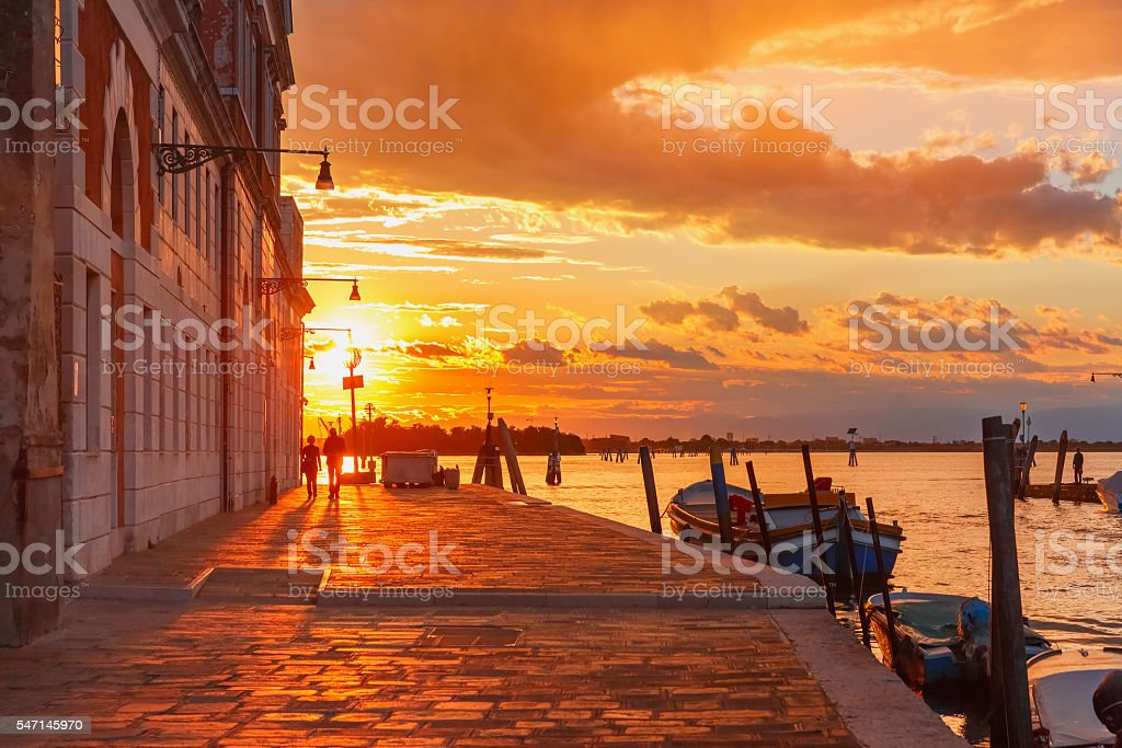 Sunset on canal Cannaregio in Venice, Italy stock photo