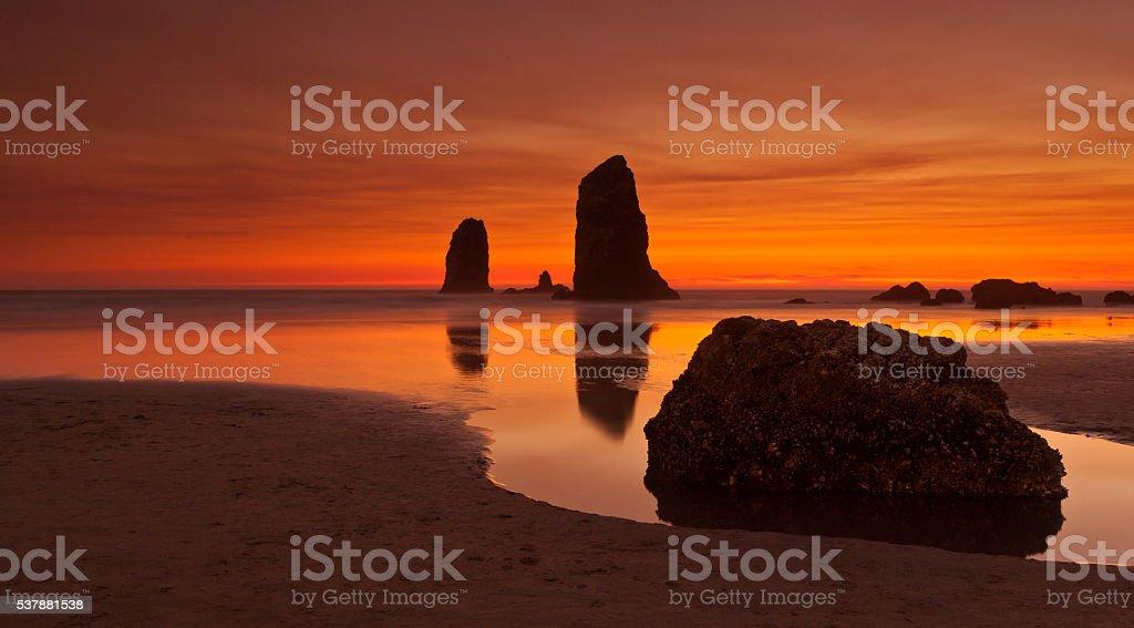 Sunset on Cannon Beach, Oregon stock photo