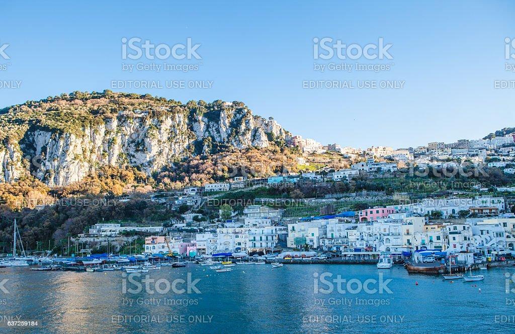 Sunset on Capri Harbor stock photo