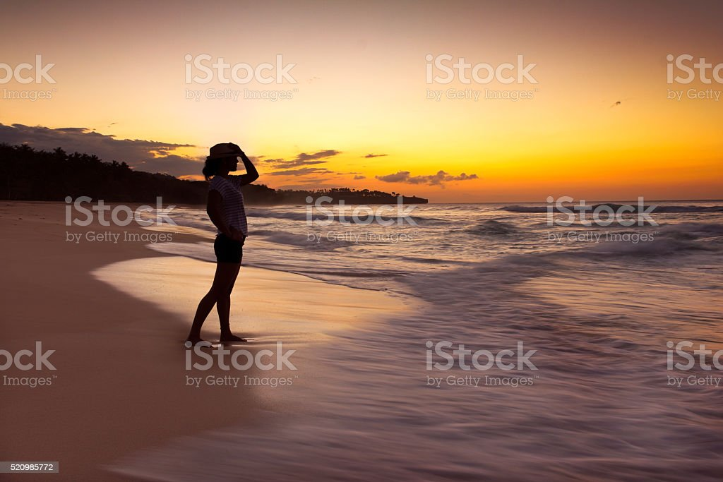 Sunset on Caribbean Paradise stock photo