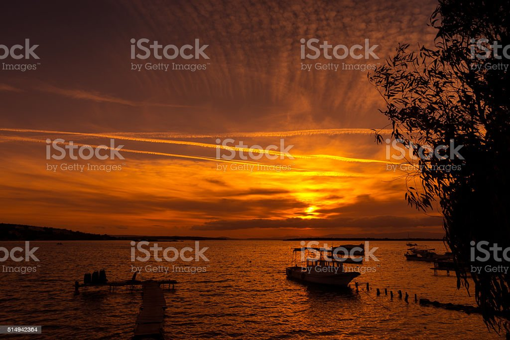 Sunset on Cesme beach with sailing boats through tree leafs stock photo