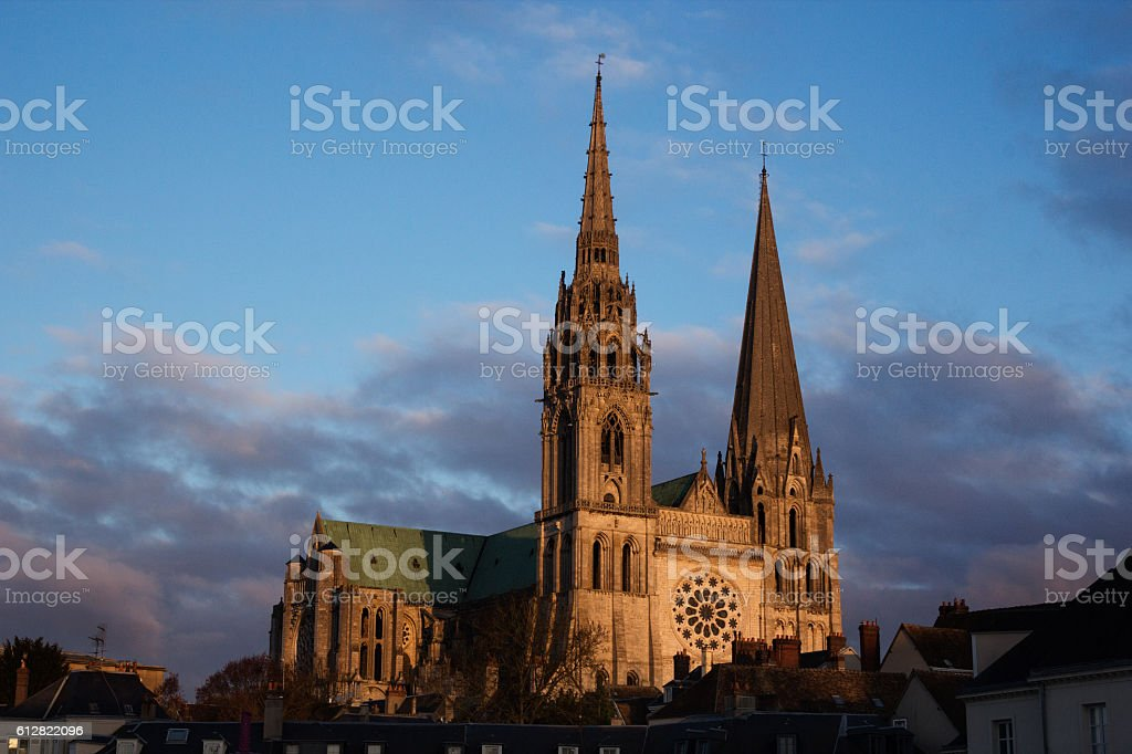 Sunset on Chartres Cathedral stock photo
