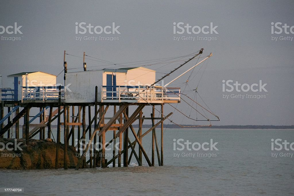 Sunset on chinese fishing stock photo